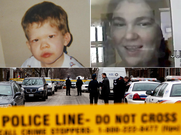 Clockwise from top left: Jeffrey Baldwin, Ashley Smith, the scene where Toronto police shot Michael Eligon dead.